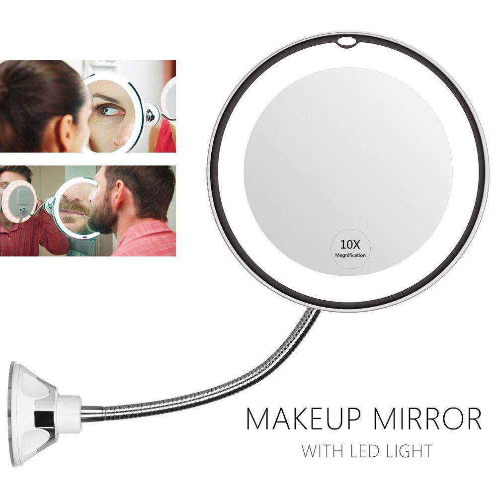 Miroir de maquillage éclairé Flexible de 360 degrés 10x miroir grossissant de rasage de vanité avec la lumière de nuit de lampe de chambre à coucher de salle de bains de lumière LED