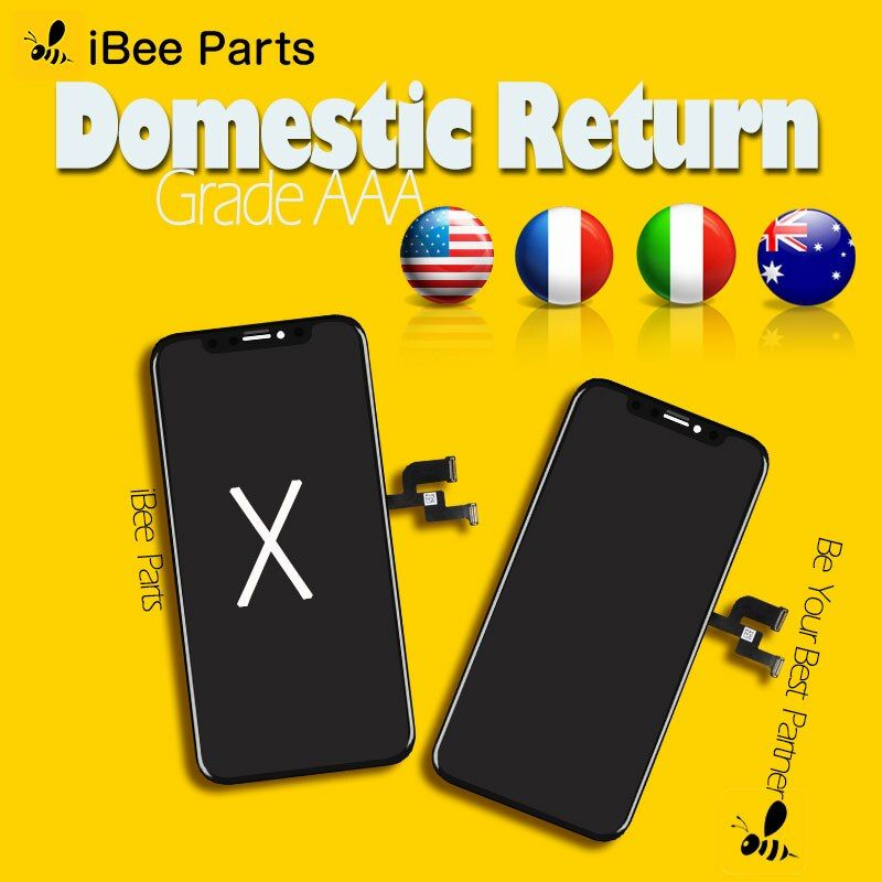 iBee Parts 2PCS Grade AAA Top Quality For iPhone X OLED AMOLED LCD Glass Touch Screen Assembly Replacement Cold Frame