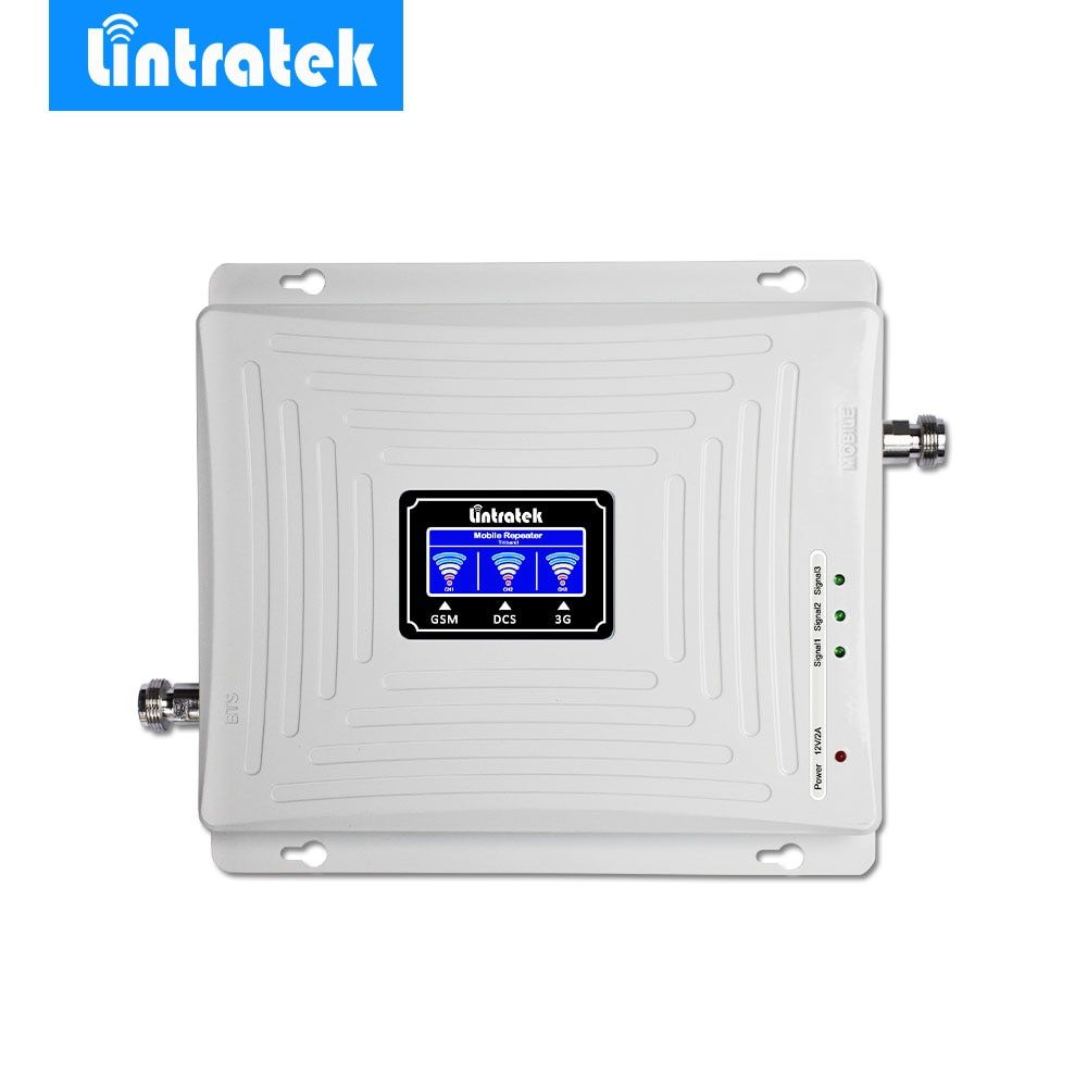 Lintratek Signal Amplifier GSM 900MHz LTE 1800MHz UMTS 2100MHz 2G 3G 4G Tri Band LCD Mobile Cell Phone Signal Booster Repeater @