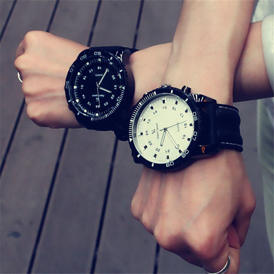 Mode coréenne Relogio hommes nécessaire Sport grand cadran étudiant montre neutre Silicone montres affaires montre-bracelet nouveau 2019