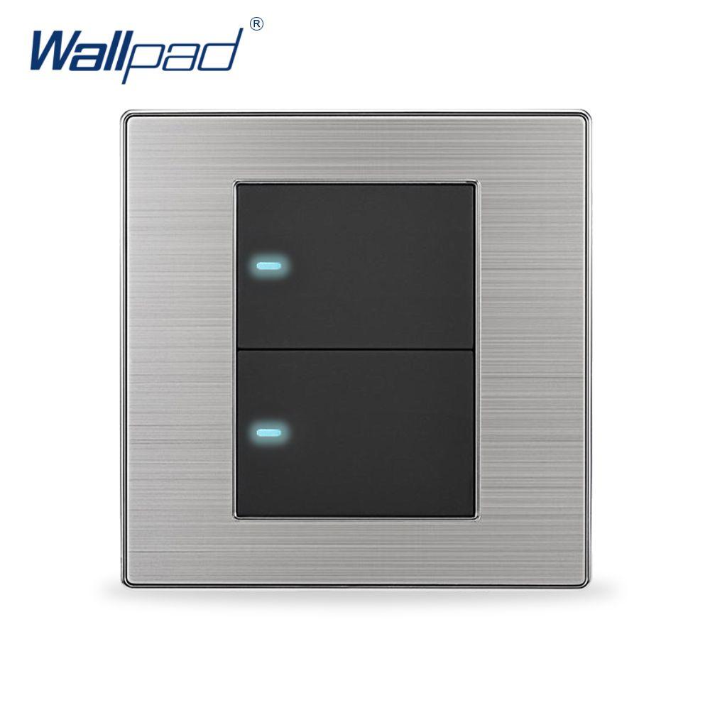 2019 offre spéciale 2 Gang 1 voie Wallpad lumière LED de luxe interrupteur bouton poussoir interrupteurs muraux interrupteur 10A AC 110 ~ 250V