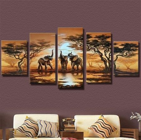 2017 diy 5pcs/set mosaic full diamond embroidery elephant animals 3d diamond painting cross stitch square drill multi-pictures