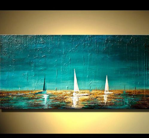 Handmade Abstract Pictures Heavy Textured Paint on Canvas Boats in Ocean Sea Hand Painted Unique Wall Art Seascape Oil Paintings
