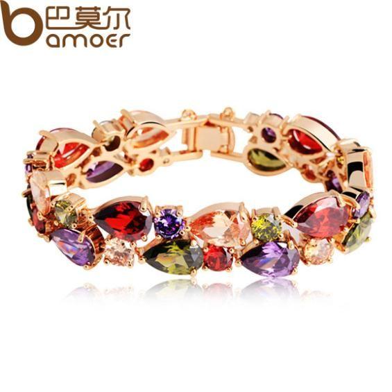 BAMOER High Quality  Rose Gold Color Mona Lisa Zircon Bracelet for Women Multicolor CZ Stones Special Store JIB001