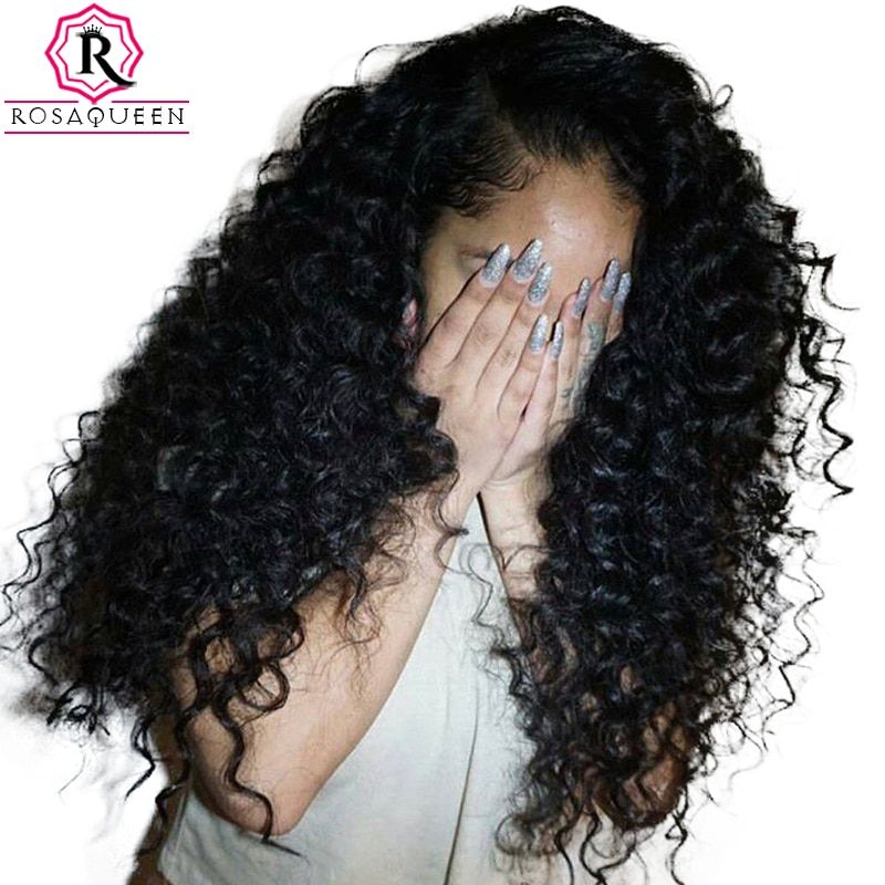 Curly Lace Front Human Hair Wigs For Women 250% Density Brazilian Hair Lace Wig Pre Plucked Full Ends Rosa Queen Black Remy