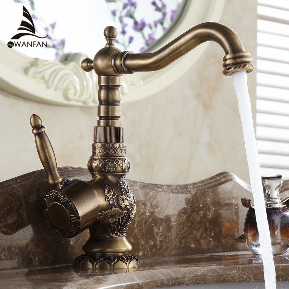 Basin Faucets Antique Brass Bathroom Faucet Basin Carving Tap Rotate Single Handle Hot and Cold Water Mixer Taps Crane AL-9966F