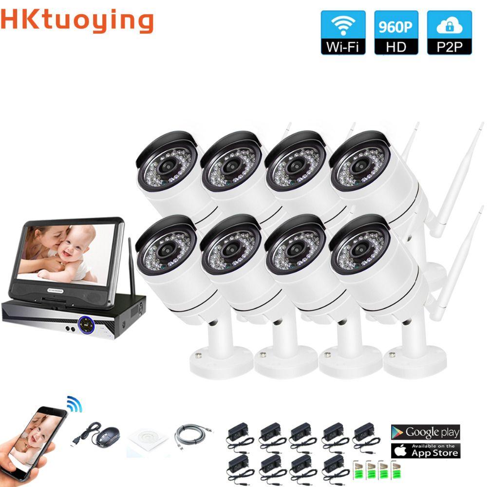 Drahtlose Überwachungs System Netzwerk 10,1 LCD Monitor NVR Recorder Wifi Kit 8CH 960 P HD Video Eingänge 1.3MP Sicherheit kamera