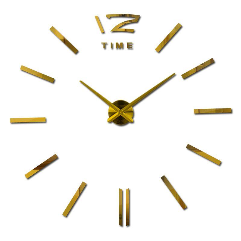 2017 nouvelle arrivée 3d home decor quartz diy horloge murale horloges horloge montre salon métal Acrylique miroir 20 pouce