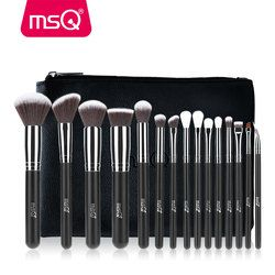 MSQ 2/15 Pcs Makeup Brushes Set Bubuk Foundation Eyeshadow Kuas Make Up Kosmetik Rambut Sintetis Yang Lembut dengan PU case Kulit