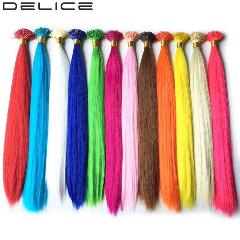 [DELICE] 100 s/Pack 40 cm Pur Couleur Synthétique Droite Je Lève les Extensions De Cheveux Avec 100 pcs Silicone Micro perles Livraison, 0.5g/Strand