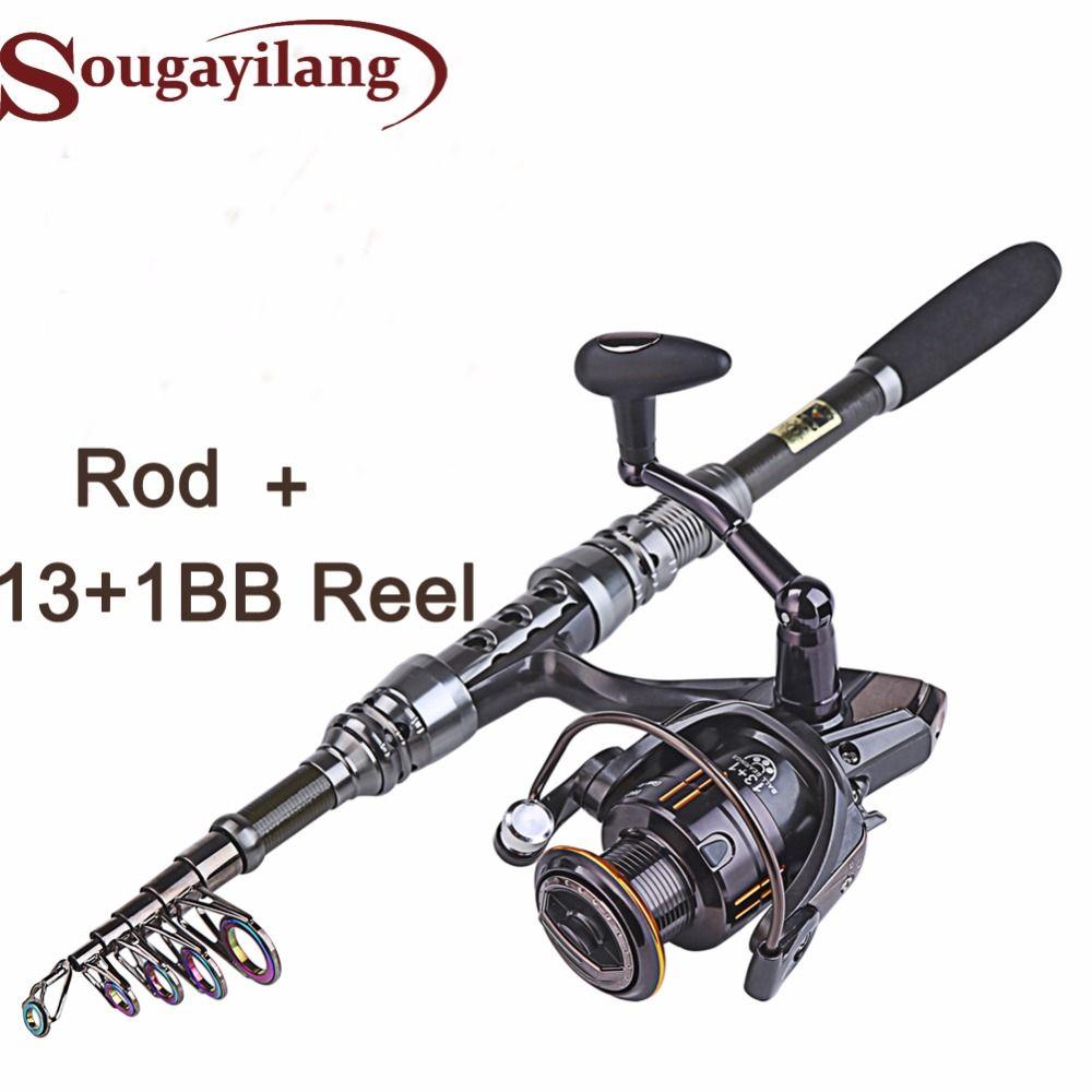 Neue 1,8-3,0 mt Angelrute Set und 14BB Metall Löffel Reel Locken Spinnrad Angelrolle vara de pesca de carbono
