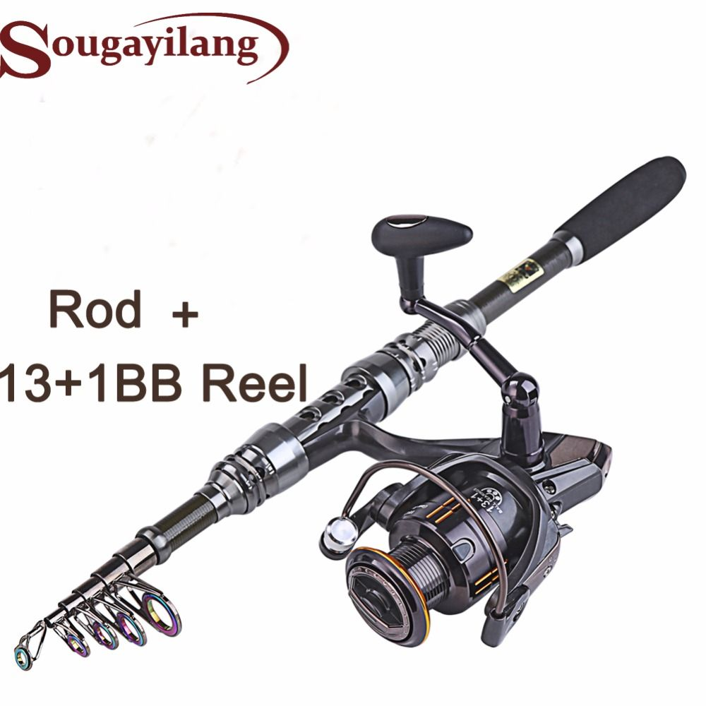 Sougayilang 1.8- 3.0m <font><b>Carbon</b></font> Telescopic Carp Fishing Rod Sets and 14BB Metal Spoon Reel Combo Lure Spinning Fishing Reel Pesca