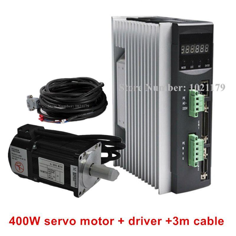 AC220V 400 Watt-750 Watt Cnc-servomotortreiber + 1.3N.m 2.5A 60mm 400 Watt AC Servo Motor + 3 Mete Kabel für CNC