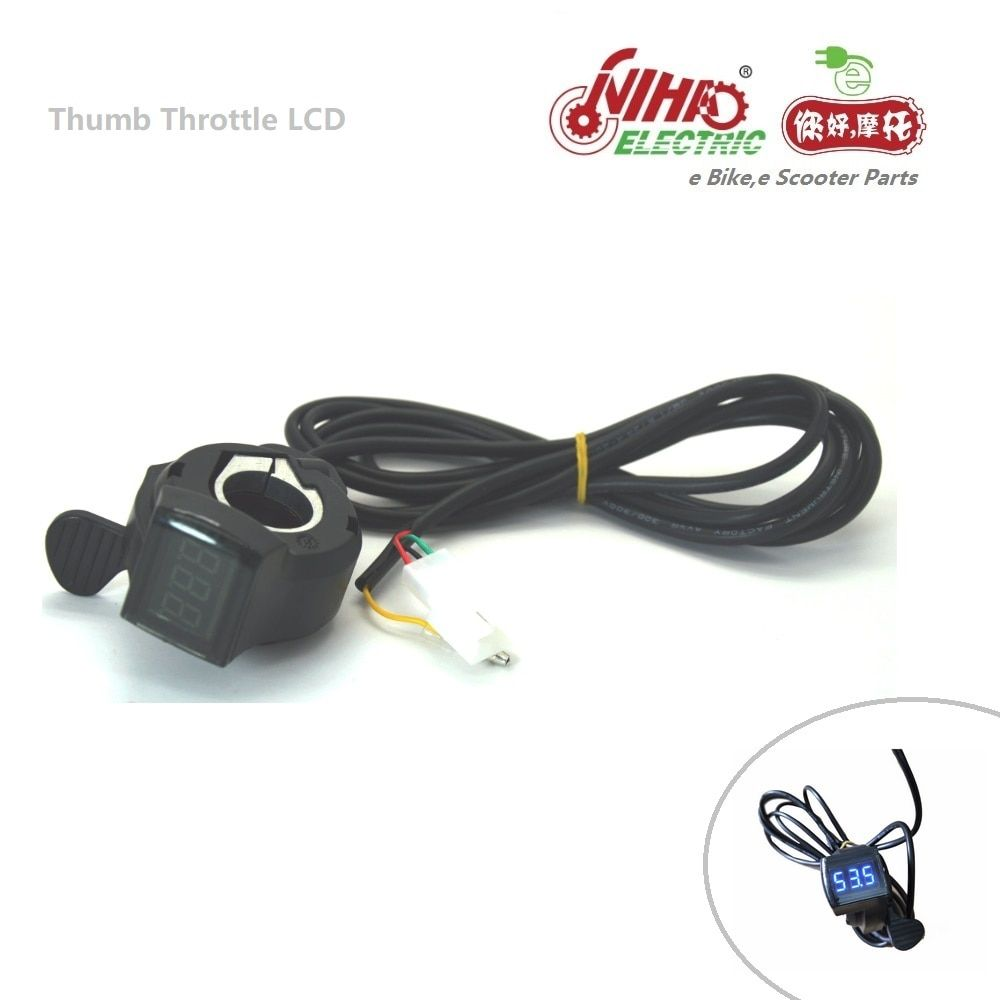 1 E-BIKE Thumb Throttle with LCD Digital Battery Voltage Display For eBike Electric Bicycle e Bike E Scooter High Quality ZTECH