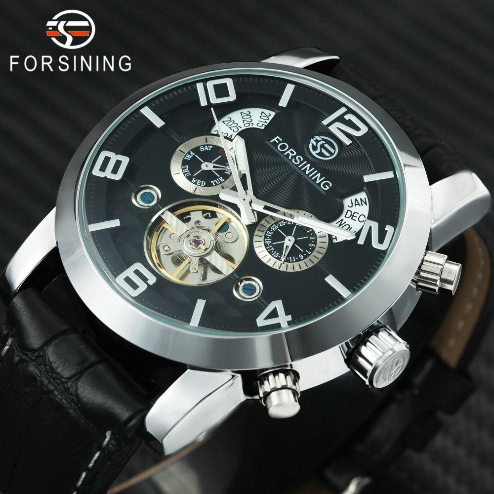 FORSINING Top Brand Luxury Tourbillon Mechanical Watch Men Leather Strap Skeleton Dial 2 Sub-dials Calendar Dress Wrist Watches