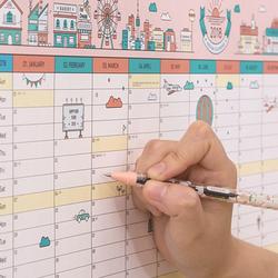 1 Pcs Creative Coréen Mignon de Bande Dessinée Calendrier Mural 2018 A2 365 Jour Calendrier Creative Planning Papier 59*43 cm