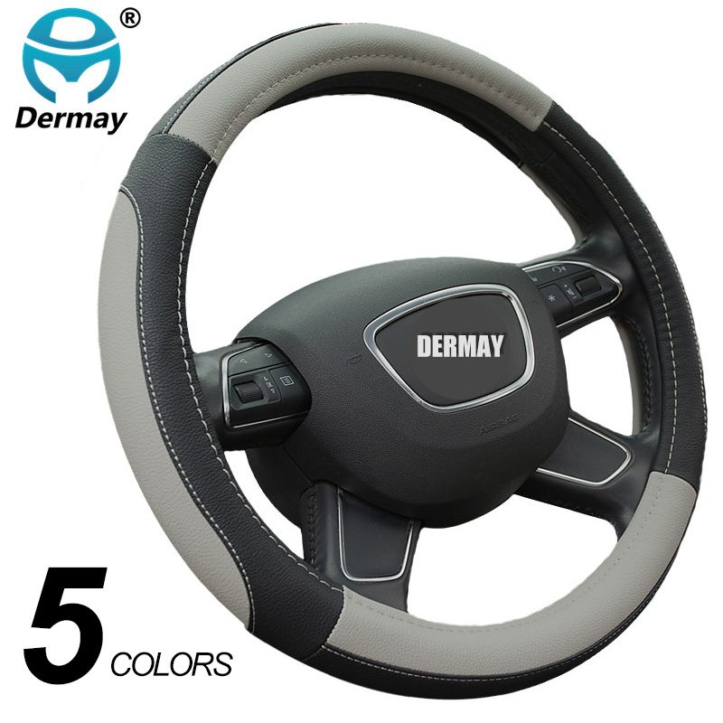 DERMAY 5Colors Leather Steering <font><b>Wheel</b></font> Cover Sport Style Car Covers,Fit Most Car Styling Factory Wholesale High Quality