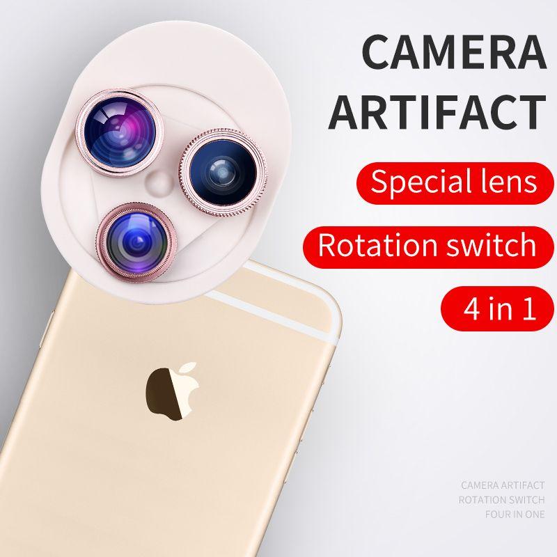 4in 1 Clip-on Lente ojo de pez Cámara Del Teléfono Celular 180 Grados CPL Fisheye Lente + Lente Granangular + Macro para el iphone 7 Plus Xiaomi & More