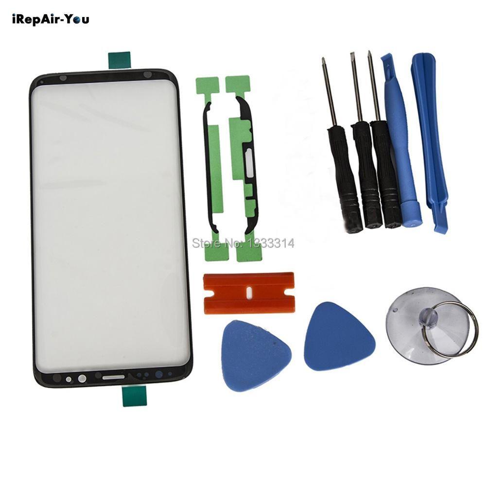 IRepair-Sie Schwarzen Bildschirm Vorne Outer Glaslinse Ersatz Für Samsung S8/S8 Plus Touchscreen Panel Kits + aufkleber + Werkzeuge
