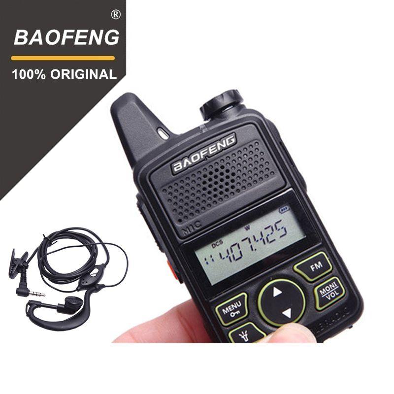 100% Original BAOFENG BF-T1 MINI Walkie Talkie UHF 400-470MHz Portable T1 Two Way Radio Ham Radio Amador Micro USB Transceiver
