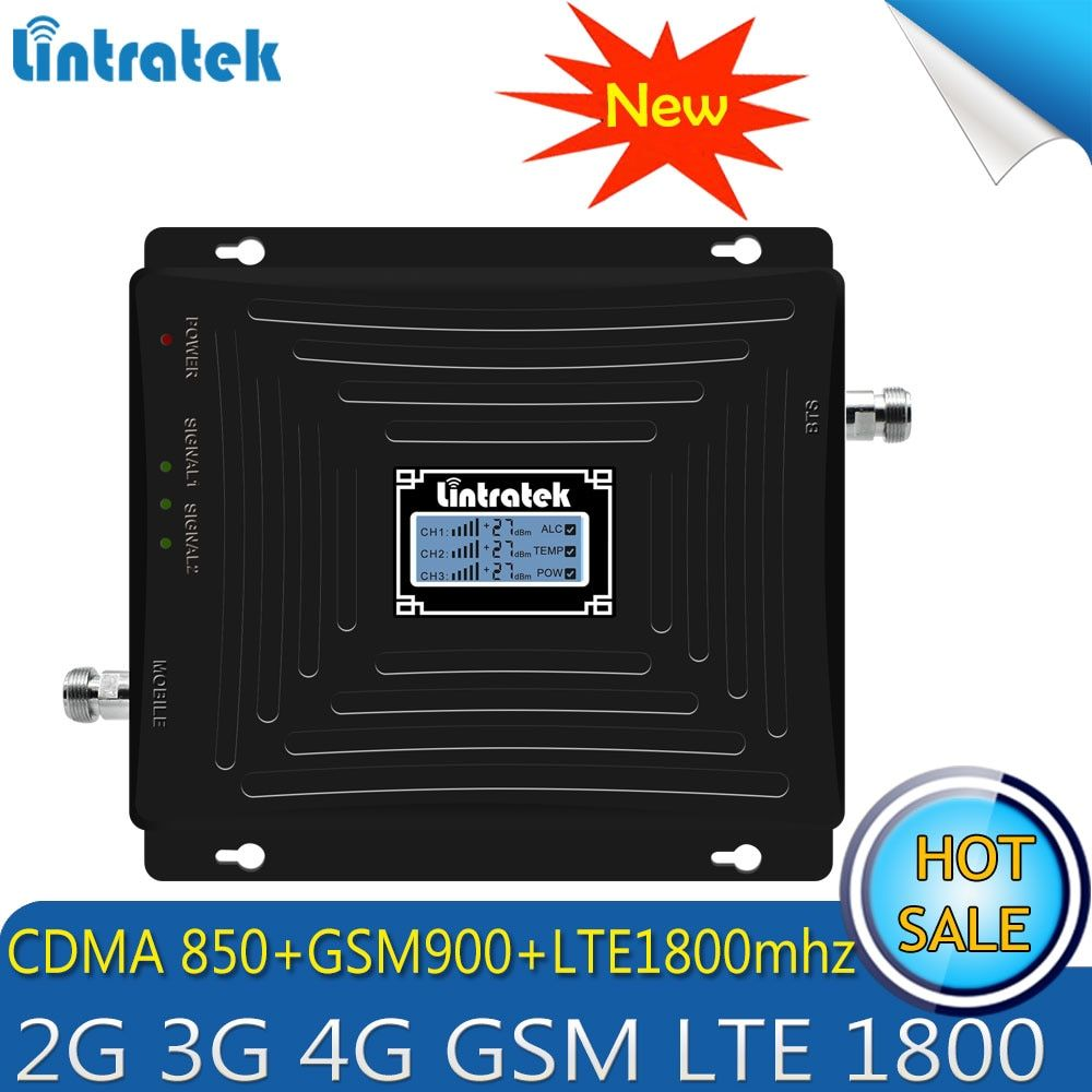 Lintratek Repetidor 2G 3G 4G Tri Band Signal Booster 850/900/1800Mhz CDMA GSM DCS LTE 4G Cellphone Cellular Signal Repeater