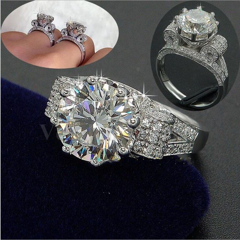 Vecalon Luxury Jewelry Women Men ring 9mm 3ct AAAAA zircon Cz 925 Sterling Silver Couple Party Engagement wedding Band ring Gift