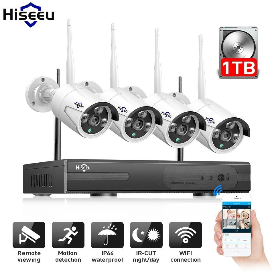 WIFI IP Bullet Camera 1080P 4pcs NVR Wireless CCTV Security System Kit Infrared Cam Remote Viewing by IP Pro 1T hdd