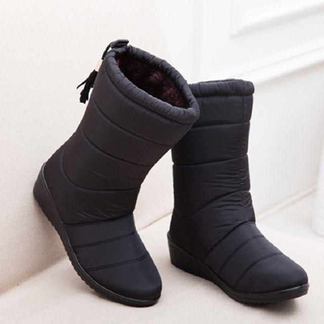 NEUE Frauen Stiefel Weibliche Unten Winter Stiefel Wasserdicht Warm Mädchen Knöchel Schnee Stiefel Damen Schuhe Frau Warme Pelz Botas Mujer