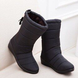 Nuevas mujeres Botas femenino Abrigos de plumas invierno Botas impermeable caliente Niñas tobillo Botas de nieve señoras Zapatos mujer caliente Pieles de animales botas Mujer