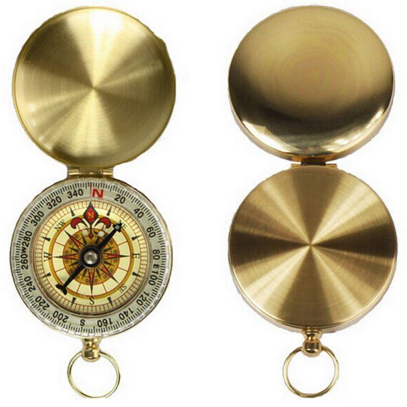 На свежем воздухе Отдых на природе Пеший Туризм Портативный латунь карман Золотой Новый Компасы навигации высокое качество