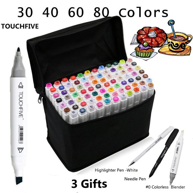 Touchfive 30406080Colors Dual Head Art Markers Pen Oily Alcoholic Sketch Marker Brush Pen Art <font><b>Supplies</b></font> for Animation Manga Draw