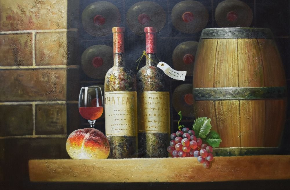 High Quality Hand Painted European-Style Still Life Oil Painting on Canvas Wine Bottle Fruit Wall Art Picture for Living Room