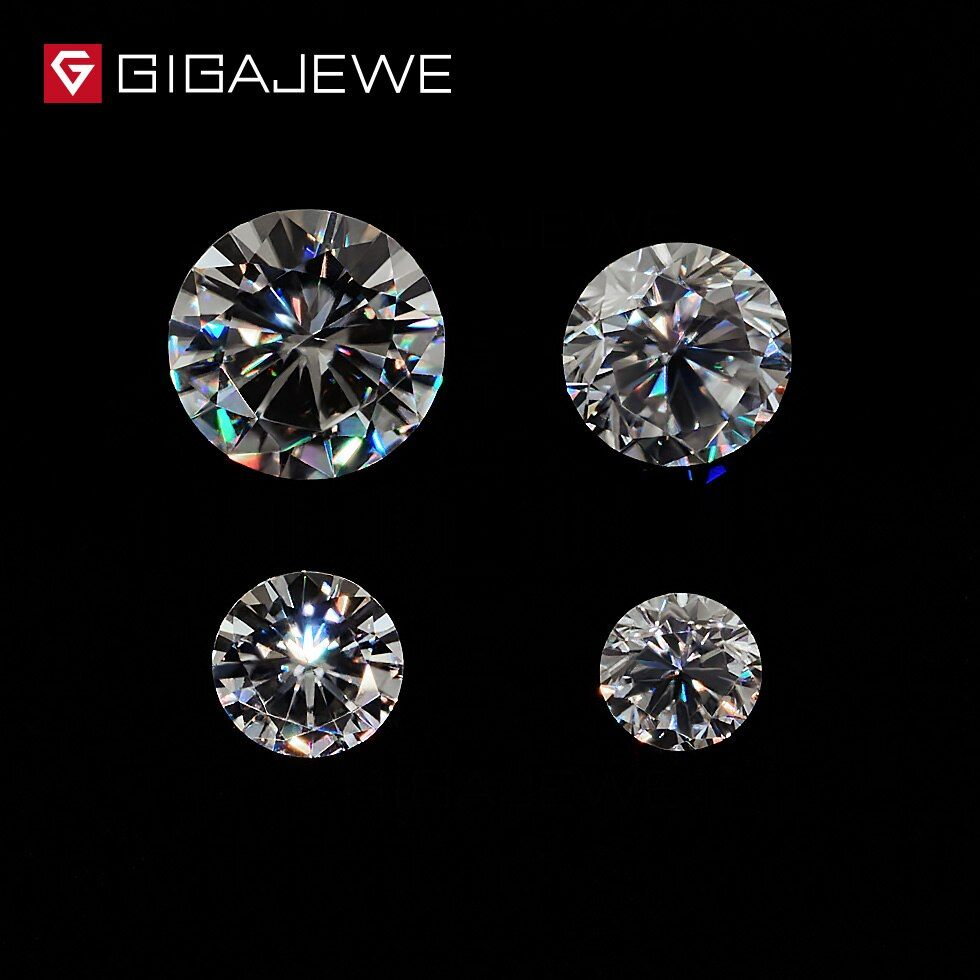 GIGAJEWE 0.8ct 3.5mm-6mm GH Color Round Cut Moissanite Stone DIY Gem Charms DIY Beads For Jewelry Making Fashion Girlfriend Gift