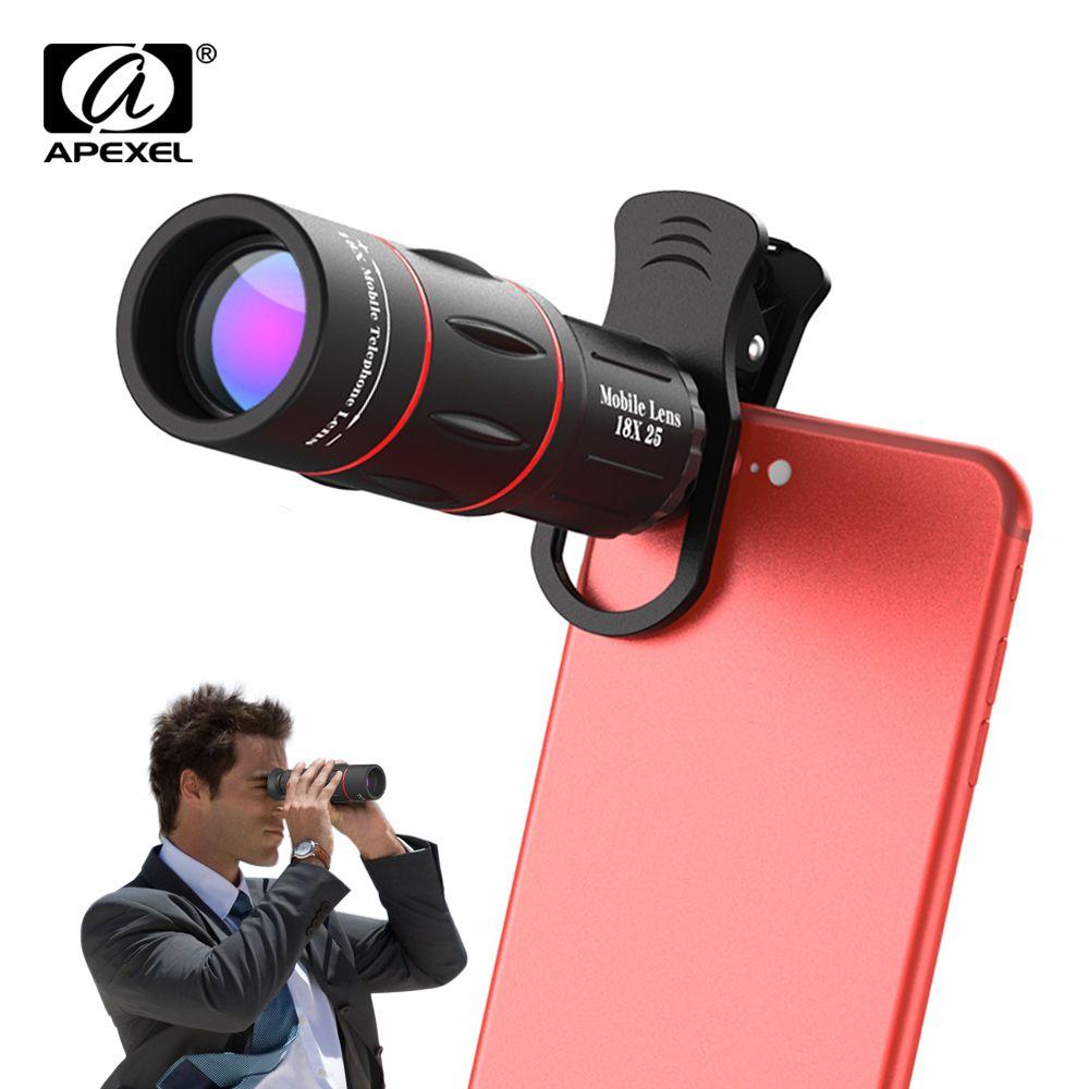 APEXEL universel 18x25 monoculaire Zoom HD optique lentille de téléphone portable observation enquête 18X téléobjectif avec trépied pour Smartphone
