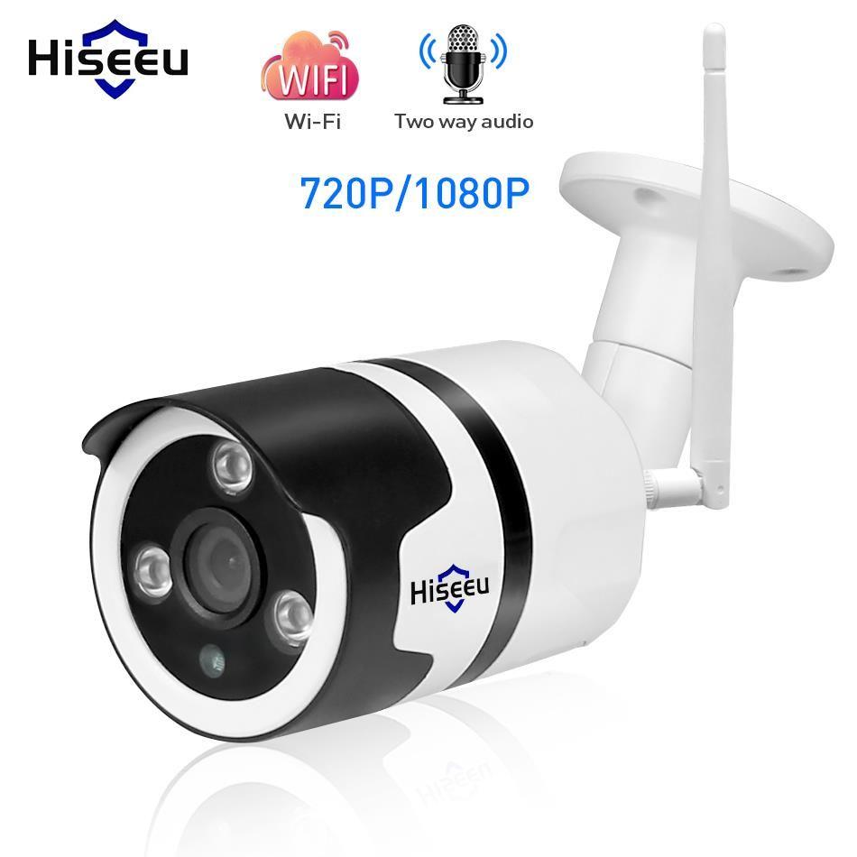 <font><b>Hiseeu</b></font> wifi outdoor IP camera 1080P 720P waterproof 2.0MP wireless security camera metal two way audio TF card record P2P bullet