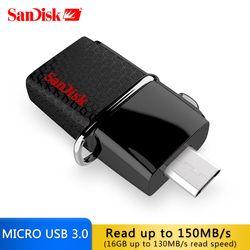 Оригинальный SanDisk USB OTG накопитель 130 МБ/с. 3.0 Flash Drive 16 ГБ Внешние запоминающие устройства флешки 32 ГБ OTG 64 ГБ памяти usb stick 3.0