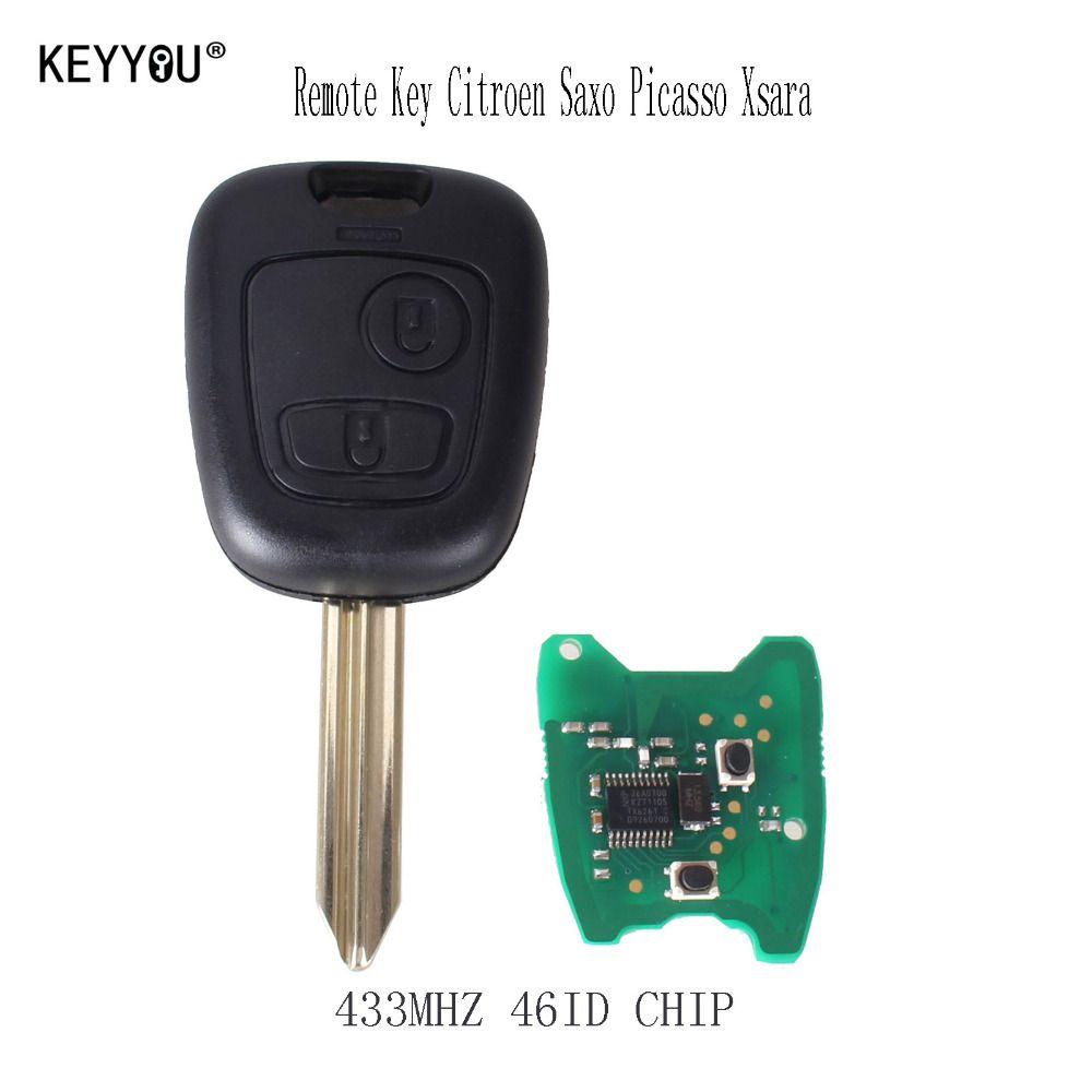 KEYYOU Auto fernbedienung Schlüssel 2 Tasten 433 mhz Für Citroen Saxo Picasso Xsara Berlingo SX9 Klinge