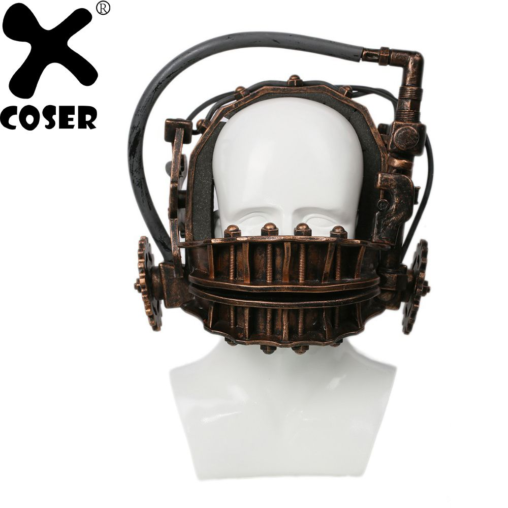 XCOSER SAW Reverse Bear Trap Bronze Soft Resin Mask The Jaw Trap Horror Movie SAW Franchise Trap Halloween Cosplay Mask