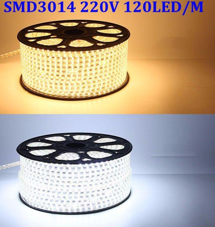 220V SMD3014 Flexible Led Strip Light 1M/2M/3M/4M/5M/6M/7M/8M/9M/10M/15M/20M/25M+Power Plug,120leds/m IP67 Waterproof led Tape