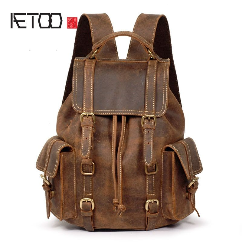AETOO Crazy horse leather leather shoulder bag backpack retro backpack male bag first layer cowhide do old men backpack