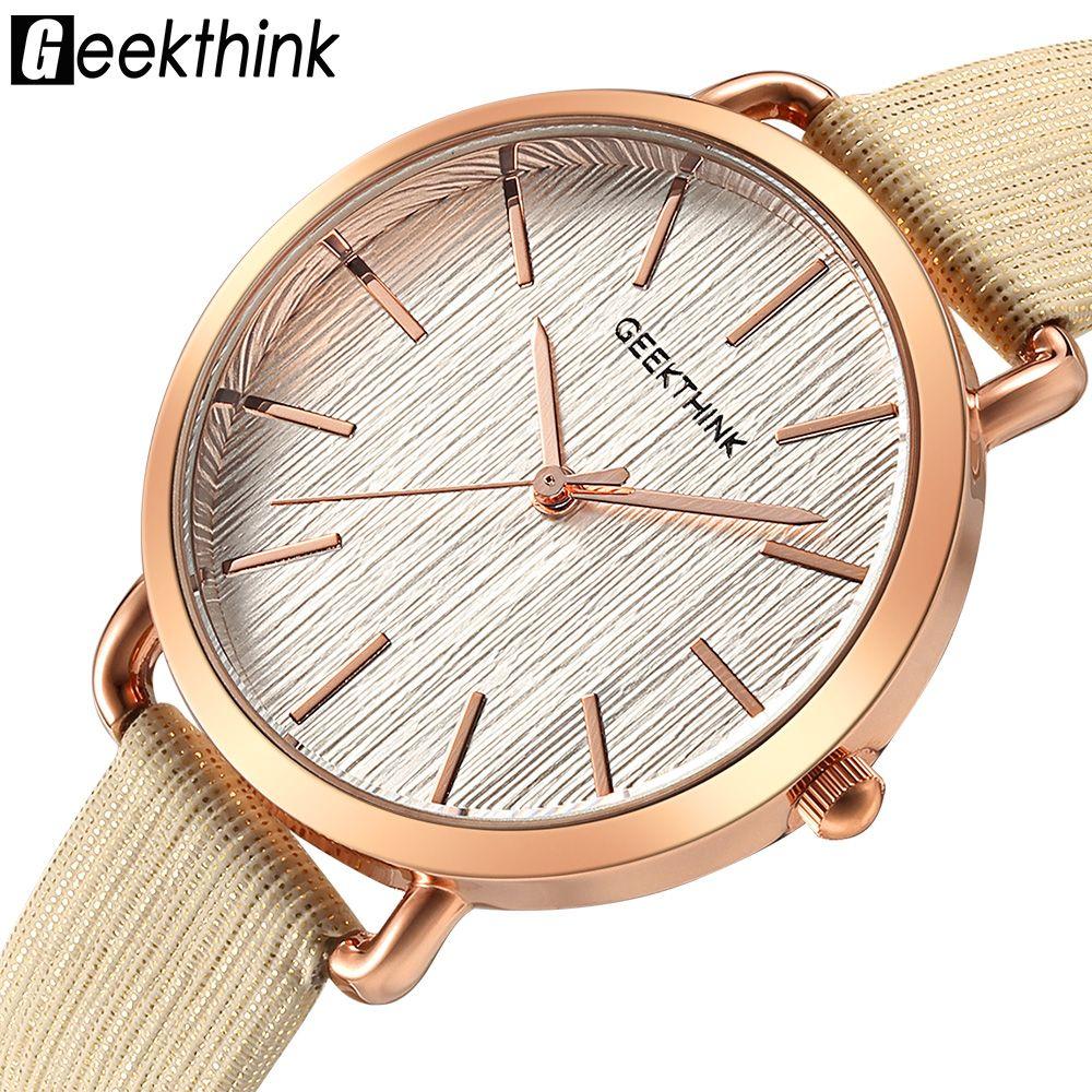 Geekthink moda de marca de lujo superior Relojes de cuarzo mujeres diamantes reloj del cuero casual señoras reloj mujer nuevo Relogio