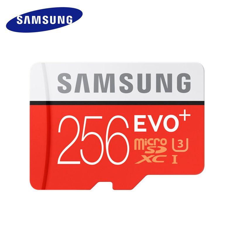 SAMSUNG Micro carte mémoire SD 256 GB Class10 EVO Plus TF carte C10 SDXC Trans mémoire Flash pour Huawei P10 & LG G5 téléphone portable