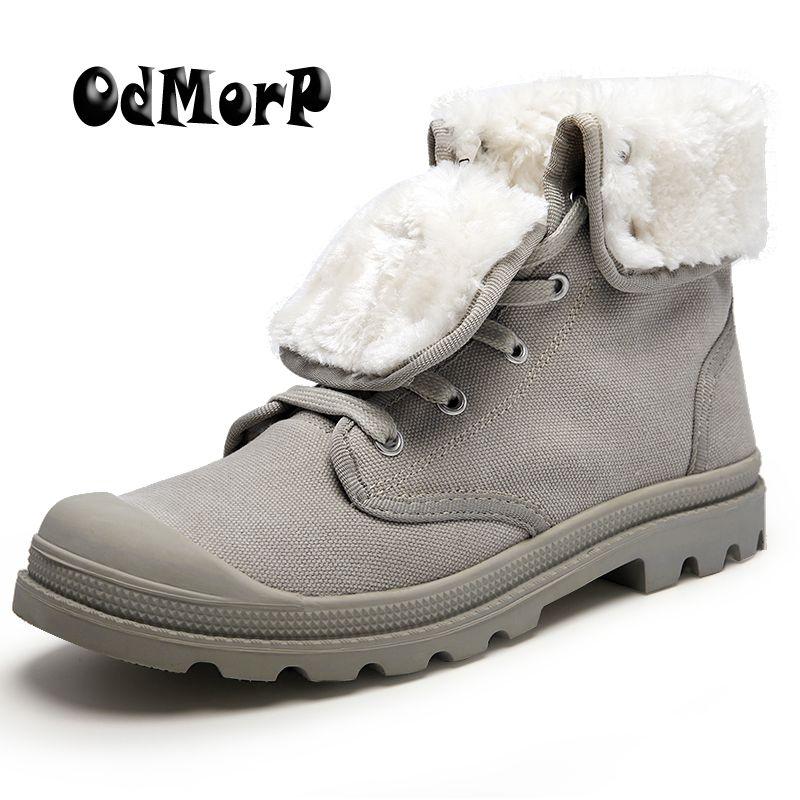 ODMORP Winter Boots Men Canvas Shoes Men Ankle Boots Winter Warm Fur Inside Casual Shoes Men Botas High Quality Autumn Men Shoes