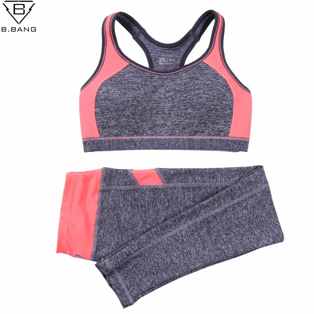 B.BANG Women Sport Yoga Sets for Running Gym Sportswear Sports Top Gym Push Up Bras Elastic Capris Fitness Tights Suit for Woman