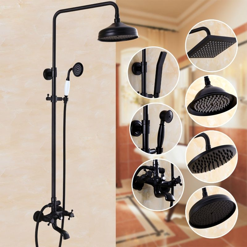 Bathroom Black Antique Brass Shower Column Shower Set Wall Mounted 8