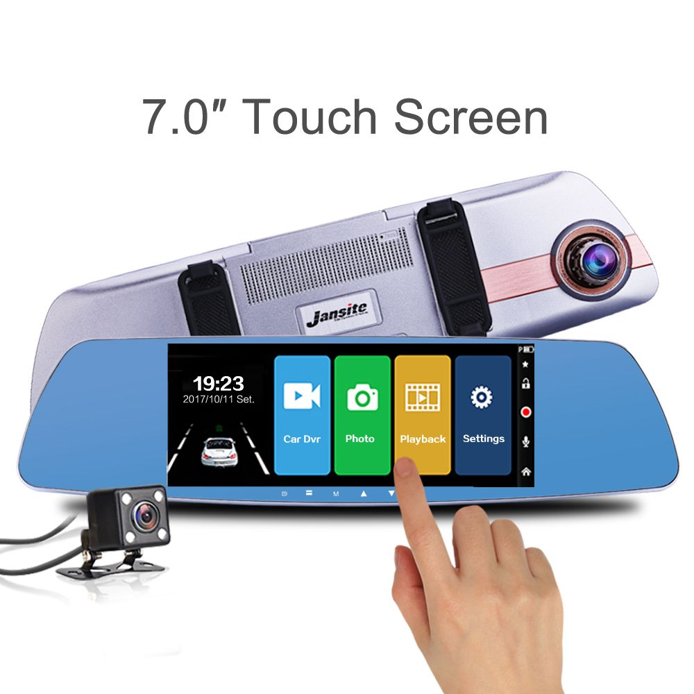 Jansite Newest 7.0 Touch screen Car DVR Camera <font><b>Super</b></font> night vision Review Mirror Dvr Detector Video Recorder 1080P Car Dvrs