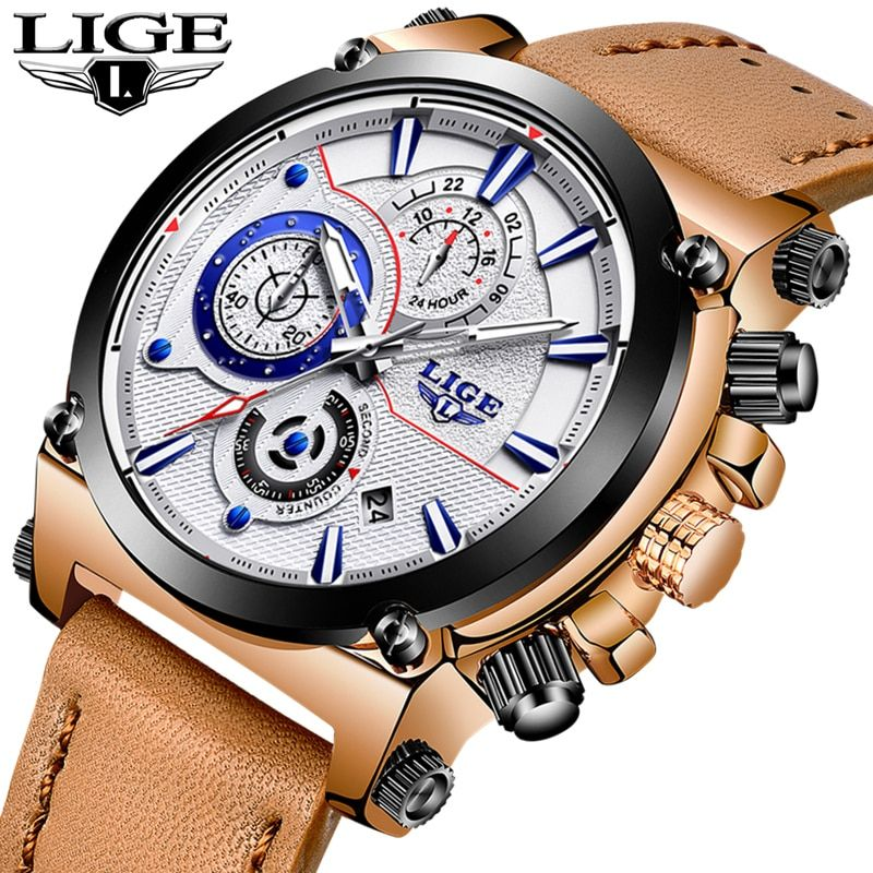 Relojes hombre 2018 LIGE Mens Watches Top Brand Luxury Fashion Quartz Watch Men Leather Big Dial Military Sport Waterproof Watch