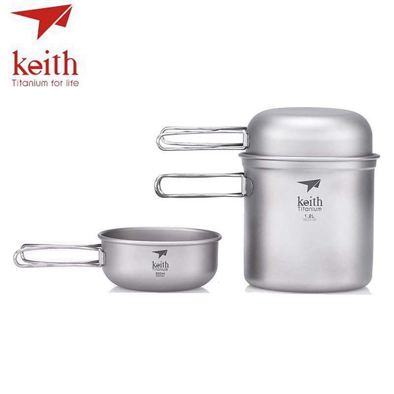 Keith 3Pcs Titanium Bowls Pot Set With Folding Handle Cook Sets Titanium Pot Set Camping Hiking Picnic Cookware Utensils Ti6052