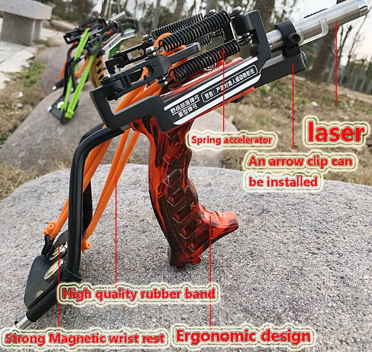 Laser Slingshot Strong Slingshot Catapult With Arrow Clip Hunting caza Powerful Catapult with wrist Target Archery Crossbow Bolt