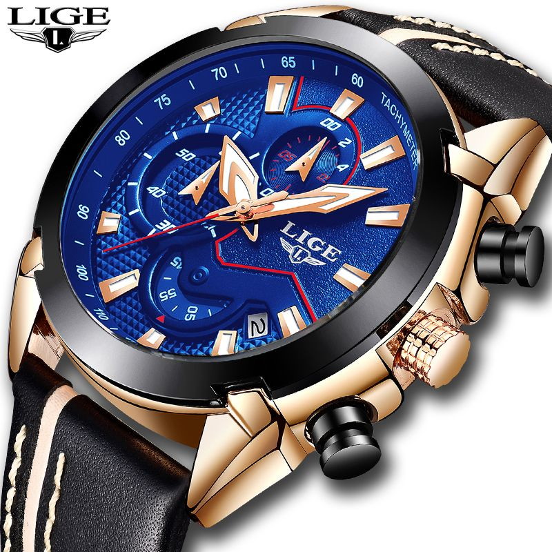 Relogio Masculino 2018 New LIGE Sport Chronograph Mens Watches Top Brand Luxury Leather Waterproof Date Quartz Watch Man Clock
